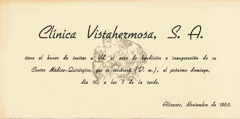 Invitación a la inauguración de la Clínica Vistahermosa en noviembre de 1963