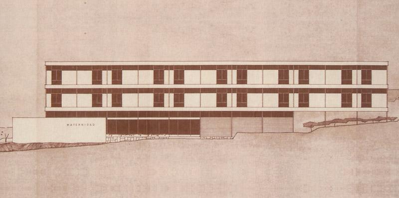 Alzado de la fachada principal de la Clínica Vistahermosa